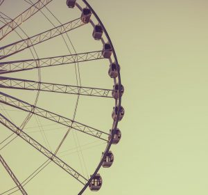 Aged and warm vintage photo of ferris wheel